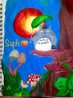 I painted totoro.with my friends paints...again. thank you gracy, but i really like it. it makes me happy