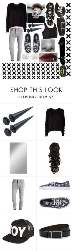 """Genderfluid/FTM Trans Outfit #2"" by kitcat01 ❤ liked on Polyvore featuring T By Alexander Wang, Topman, Vans, BOY London and HUGO"