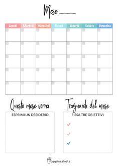 Stampa il tuo planner mensile e riempilo di grandi progetti Savings Planner, Agenda Planner, Budget Planner, Planner Pages, Weekly Planner, Life Planner, Free Printable Calendar, Printable Planner, Planner Stickers