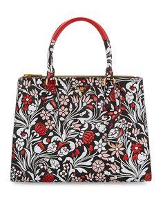 Medium Debossed Floral Galleria Tote Bag