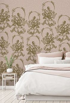Create a beautiful feature wall in your home with this fabulous Mermaid wallpaper. We adore the pretty Art Nouveau-inspired patterns against this stunning skin-toned pink. To order, simply tell us your wall's dimensions and choice of wallpaper material. We offer a range of high-quality wallpapers: classic or premium paste the wall or textured peel and stick. Discover more from Wallsauce! #wallpaper #pink Where to buy pink wallpaper. Wallpaper Bedroom, Beautiful Bedrooms, Wall Murals, Pink Wallpaper, Wall, Mural Wallpaper, Inspirational Wallpapers, Popular Wallpaper, Mermaid Wallpapers