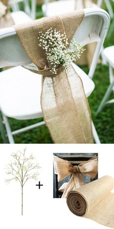 Make these adorable chairbacks with burlap and faux baby's breath from afloral.com. Perfect for any backyard or rustic wedding! #afloral