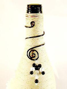 Black Swirled Wine Bottle Decoration Charm. by SpiritualPathways, $5.00