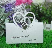 В форме сердца дизайн свадебного стола место карты лазерной резки бумаги для сидения карты ну вечеринку украшения поставки 100 шт. 12multi-цвета(China (Mainland))