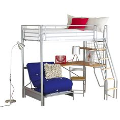 Kids teens metal loft bed with desk and futon sofa bed