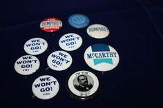 10 Vintage Pinback Lot Vietnam War protest Humphrey Cleveland McCarthy