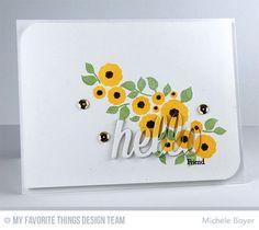 Happy Hellos Die-namics, LJD Easter Bunny Stamp Set, LJD Homespun Hearts Stamp Set - Michele Boyer #mftstamps