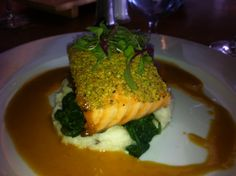 Our first dinner with the newlyweds Scott & Brittanni at the Poseidon Restaurant in Del Mar. I enjoyed the Pistachio Crusted Loch-Duart Scottish Salmon, Garlic-sautéed spinach, garlic mashed potatoes, citrus-pomegranate beurre blanc.
