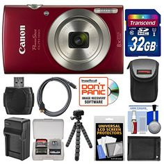 KIT INCLUDES 12 PRODUCTS — All BRAND NEW Items with all Manufacturer-supplied Accessories + Full USA Warranties: [1] Canon PowerShot Elph 180 Digital Camera + [2] Transcend 32GB SDHC 300x Card + [3] Spare NB-11L/H Battery + [4] Charger for Canon NB-11L/H + [5] PD-DCM Compact Camera Case + [6] PD-T14 Flexible Camera Tripod +