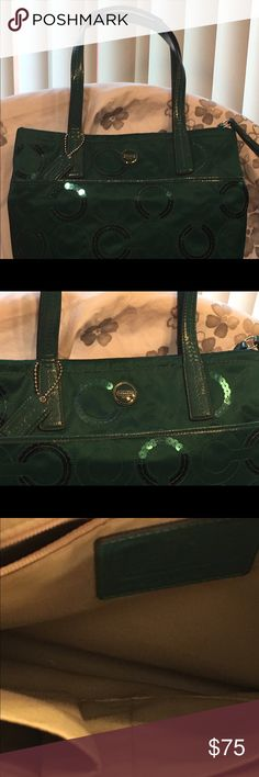 "Coach Green Sequin Purse Coach Green Sequin Purse - 14"" W x 11.5"" H - Strap measures 20"" - A drink was spilled on the back (last pictures) Inside is very clean Coach Bags Shoulder Bags"