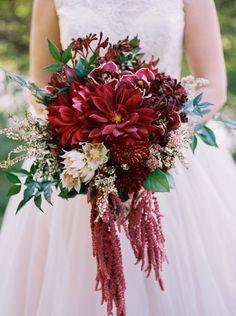 Rich and elegant Marsala and Blush blooms #cedarwoodweddings A Celebration to Remember :: Marissa+Mark, Part 1 | Cedarwood Weddings