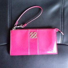 Coach Wallet Patent pink/fushia leather coach wallet. Lightly used - good condition. Faint ink marks toward bottom, likely washable. Coach Bags Wallets