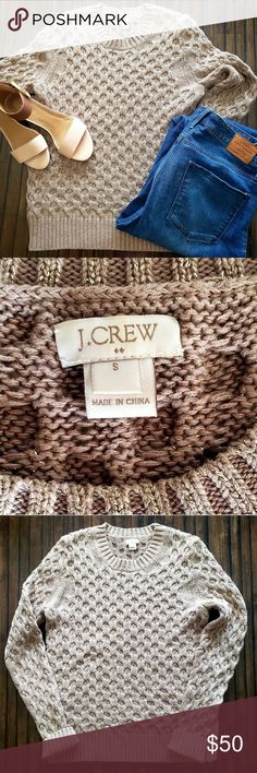 "J Crew Tan & Gold Cable Knit Sweater J. Crew tan cable knit sweater with gold luxe thread. Excellent condition. Smoke free, pet friendly home. 25.5"" from shoulder to bottom and 17"" across front when flat (see photo)   ▪️Size small ▪️Cotton ▪️Hits at hips ▪️Machine washable J. Crew Sweaters Crew & Scoop Necks"