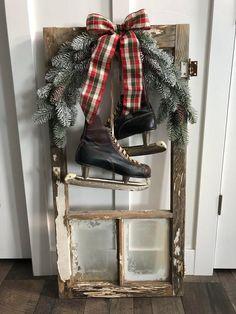 Antique Ice Skates on Antique Window,Shabby Chic,Rustic Decor,Ice Skates,Old Win. Winter Porch Decorations, Christmas Window Decorations, Christmas Porch, Antique Christmas, Rustic Christmas, Seasonal Decor, Holiday Decor, Xmas, Etsy Christmas