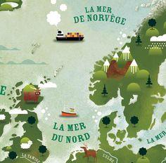 Europe Illustrated map, milan publishing, children book, cartography