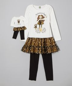 Black 'Christmas Angel' Tunic Set & Doll Outfit - Girls by Dollie & Me #zulily #zulilyfinds