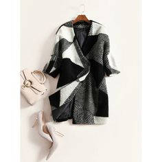Monochrome Rhombic Pattern 3/4 Sleeve Overcoat ($20) ❤ liked on Polyvore featuring outerwear, coats, 3/4 sleeve coat, pattern coat, over coat, print coat and three quarter coat