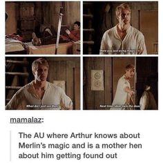 Oh my goodness and Merlín is just left there thinking wait he knows and Arthur just being like we all know