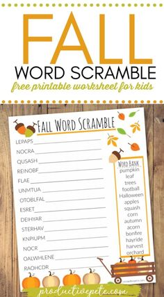 Its another fun Fall themed worksheet for kids! This Fall Word Scramble printable is great for kindergarten, grade, and even graders. Its a free printable you can use at home, in the classroom, or even at club meetings. Halloween Activities For Kids, Kids Party Games, Fall Crafts For Kids, Free Printable Worksheets, Worksheets For Kids, Free Printables, Thanksgiving Worksheets, Thanksgiving Games, Word Scramble Printable