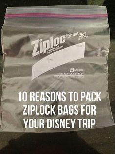 Packing Ziplock bags for your Disney trip...a MUST! sanitizer & sunblock, extra/leftover snacks, and more!