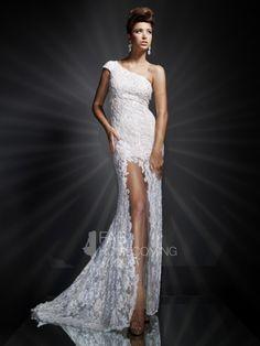 2013 Style Trumpet / Mermaid One Shoulder Lace Sleeveless Floor-length Lace Prom Dresses / Evening Dresses (SZ0303193) - FabHomecomingDress.com
