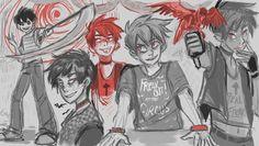 """circus gothica fenton for darkeneddawning! thanks a bunch!"" By rainbowfiish on Tumblr"