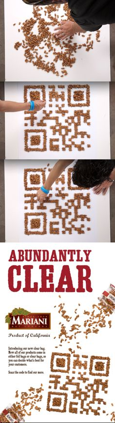 Created a giant QR code made out of real Mariani Almonds. Designed the ad and mobile landing page. Scan the code for yourself.