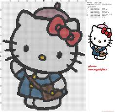 Hello Kitty escuela patron punto de cruz