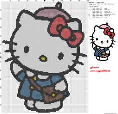 Hello Kitty at the school cross stitch pattern