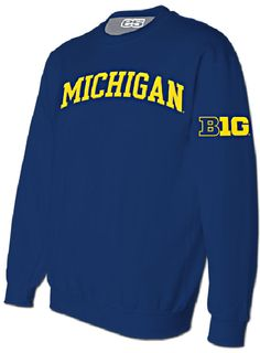 NCAA Michigan Wolverines Mens Blue Embroidered Crew Sweatshirt $44.95