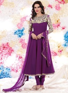 Sizzling purple anarkali suit