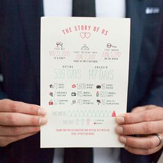 Wedding Program An infographic-inspired handout is such a fun alternative to a traditional ceremony program. - Incorporate personalized details that reflect your journey together for a truly unforgettable wedding experience. Wedding Planning Tips, Wedding Tips, Wedding Details, Diy Wedding, Wedding Day, Spring Wedding, Rustic Wedding, Wedding Reception, Ceremony Programs