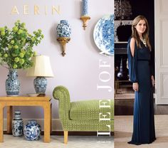 Love the way Aerin Lauder used the blue & white ceramics with the green fabric. From My Pink Sketchbook blog.