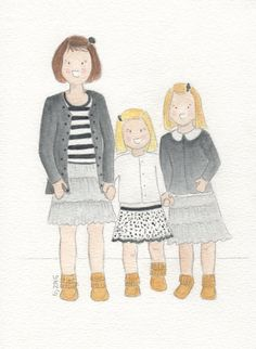 Custom Watercolor Portrait 1 or more children by HappyLeighDesign