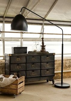 Industrial cabinet & oversized lamp