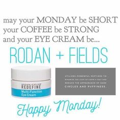 Rodan + Fields Redefine Multi-Function Eye Cream uses powerful peptides to minimize the look of crows feet, puffiness and dark circles.  Follow me on pinterest @ R+Fskincare101.