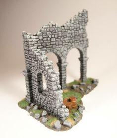 Ruins with Arcades // Warhammer Fantasy Battle Foam Carving, Hirst Arts, Tabletop, Aquarium Backgrounds, Warhammer Terrain, Game Terrain, Altered Art, Altered Tins, Fantasy Battle