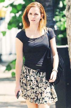 Emma Watson 2014 street style Printed skirt