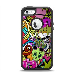 The Vibrant Colored Vector Graffiti Apple iPhone 5-5s Otterbox Defender Case Skin Set