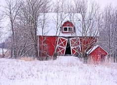 red barn- white snow