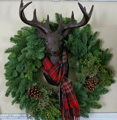 wreath with antler and scarf @Carrie Mcknelly Mcknelly Mcknelly Kneeland