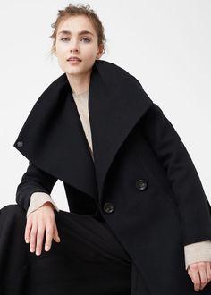 Wide lapel wool-blend coat   MANGO