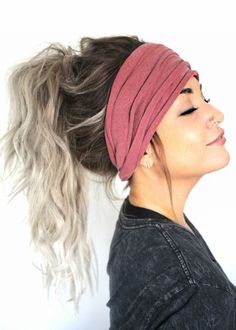 Mauve Scrunch Headband Extra Wide Headband Jersey by pebbyforevee