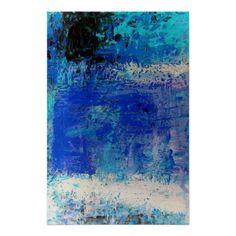 Blue Abstract Print Art Decor Minimalist Posters