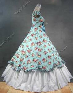 Civil War Ball Gown Patterns | Southern Belle Civil War Cotton Flax Gown Dress 273 M