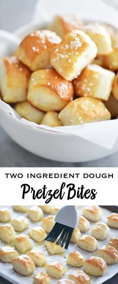 Two Ingredient Dough Pretzel Bites are SUPER EASY to make with no yeast and no waiting for the dough to rise. Just mix the dough, cut nuggets, dip in baking soda water and bake! snacks for a party Two Ingredient Dough Pretzel Bites - The Gunny Sack Art Du Pain, Yummy Snacks, Yummy Food, Savory Snacks, Healthy Tasty Snacks, Healthy Pretzels, Baked Pretzels, Appetizer Recipes, Dessert Recipes