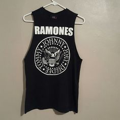 Ramones tank top Ramones sleeves tee. Cut off sleeves for a punk look. From 2007 and still in great shape! Cute with plaid skirts and creepers. Punk. Cool! Unisex men's size M Hot Topic Tops Tank Tops