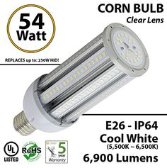 54W, LED Bulb Lamp, 5900Lm, 6000K, IP64, E26, UL LEDRadiant Commercial Industrial LED lighting