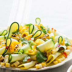 Grilled corn and late summer squash. This vegetarian inspired dish makes a great side dish at a summer barbecue.