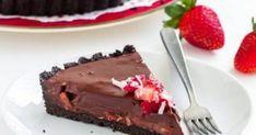 Τάρτα σοκολάτας με φράουλες και γάλα καρύδας, χωρίς ψήσιμο Recipies, Cheesecake, Food And Drink, Pudding, Sweets, Vegan, Chocolate, Cooking, Easy